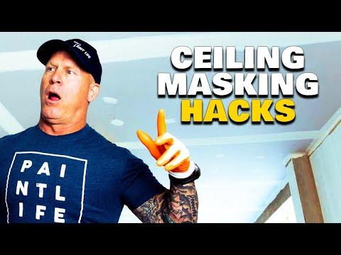 Masking A Ceiling Hacks. Using A Hand Masker Upside Down.