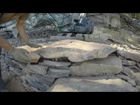Building a bluestone garden wall and stairs