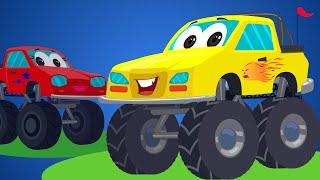 Little Red Car Rhymes - Monster Truck Songs   Rig A Jig Jig   Nursery Rhymes For Kids And Babies