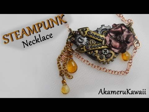 Steampunk Charm Necklace - Polymer clay tutorial