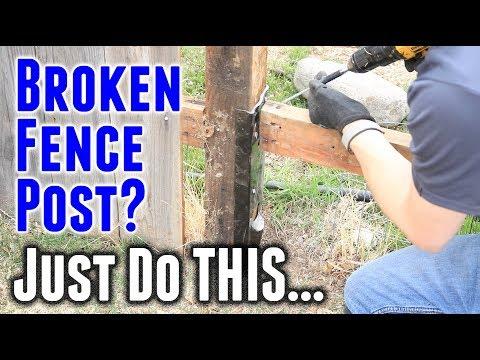 Repair A Broken Fence Post FAST (EZ-Mender Fence Bracket)