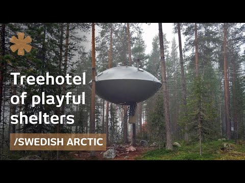 Treehotel: mirrorcube, nest, UFO treehouses in Arctic forest