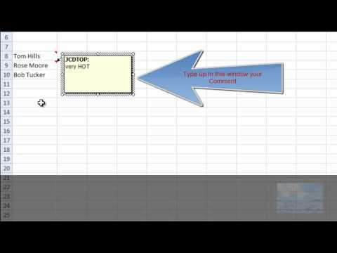 Insert Comments in Excel 2007 (for beginners)