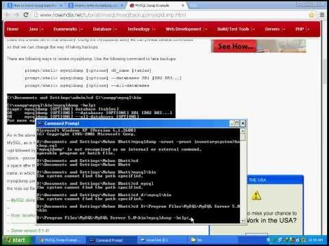Create dump file (.sql file) of mysql database