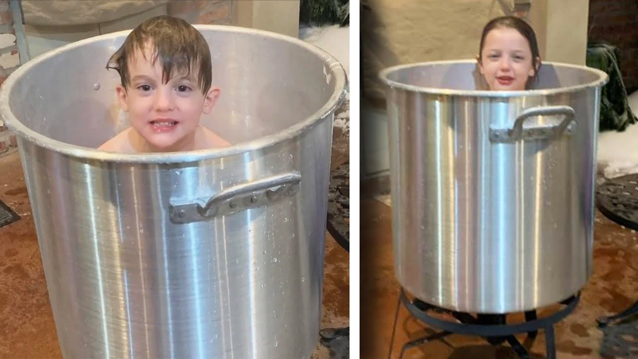 Mom Bathes Kids in Pot of Melted Snow