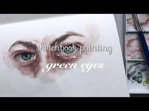 Sketchbook Painting - Green Eyes