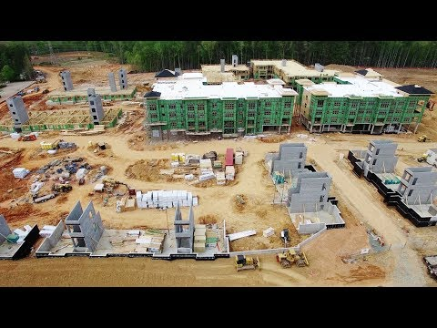 Aerial Views of Carraway Village Construction at NC 86 & Eubanks Rd - Chapel Hill, NC