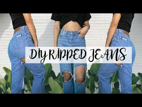 DIY Tumblr Ripped Jeans