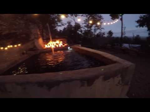 Wood fired concrete hot tub