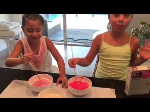 Rishy and Julie making a pink Camouflage Cake