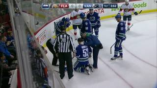 Horvat forced to leave after taking a puck to back of head