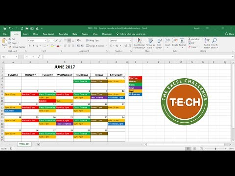 TECH-011 - Create a calendar in Excel that automatically updates colors by event category