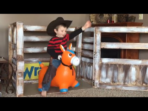 Little Boy Rides Out of Control Toy Donkey