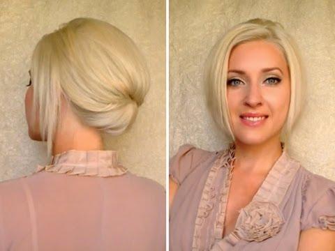 Short hair updo for work office job interview Elegant hairstyle for medium long shoulder length hair
