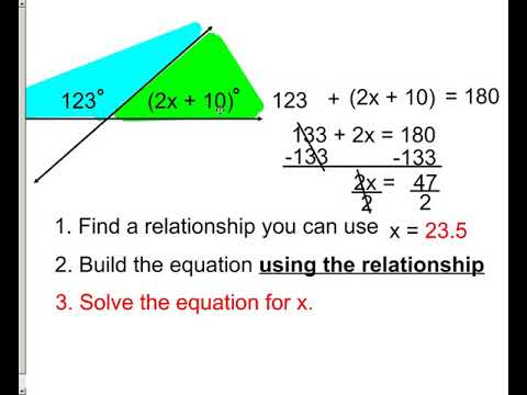 lesson - finding missing angle measure from algebraic expressions