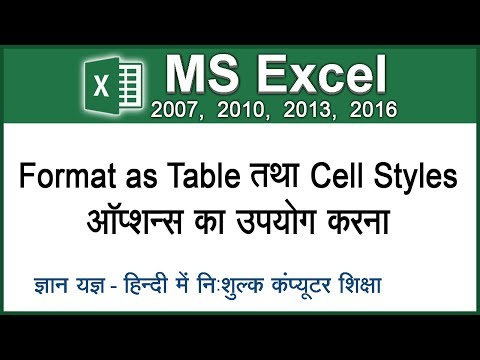 How To Use Format As Table & Cell Styles Option In Excel In Hindi - Lesson 14