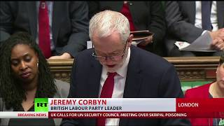 Corbyn jeered for suggesting May should seek dialogue with Russia