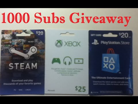 [CLOSED] 1000 Subscribers Giveaway: Xbox, Playstation, and Steam Wallet Cards