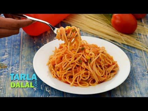 Quick Spaghetti, Veg Spaghetti by Tarla Dalal