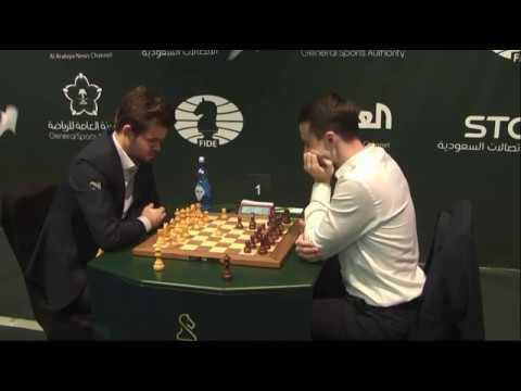 Magnus Carlsen vs Ernesto Inarkiev Double unlegal move! FIDE World Blitz Championship 2017 Round 1