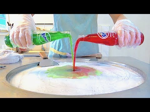 Red Fanta w/ Green Fanta! Strawberry Blueberry Ice cream VS vanilla Oreo ice cream rolls