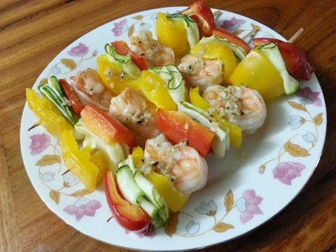 Grilled Shrimp Skewers (121 calories per skewer), Colorful, Delicious & Healthy!