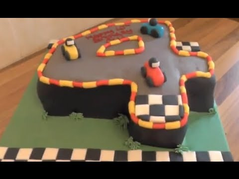 Number 4 Cake Tutorial - Racing Car Cake and Track Theme