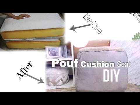 DIY: Pouf Cushion Sit | RECYCLED from Old Couch Cushion | Ottoman|No SEWING MACHINE