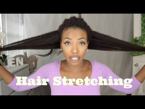 STRETCHING 4C Natural Hair! Highly Requested - Avoid Shrinkage, No heat - Waist Length Natural Hair