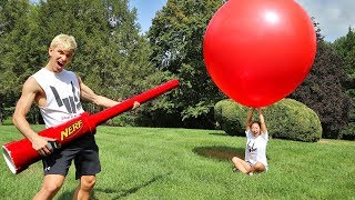 NERF CANNON VS GIANT BALLOON!!