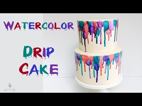 Fun Watercolor Drip Cake | How to make from Creative Cakes by Sharon