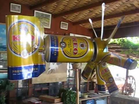 Small windmill made of empty KEO beer cans
