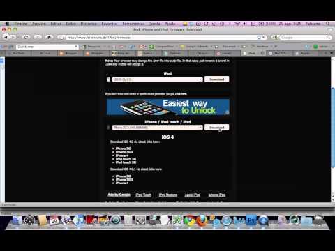 Video mostrando o download da versao 4.01 do iOS