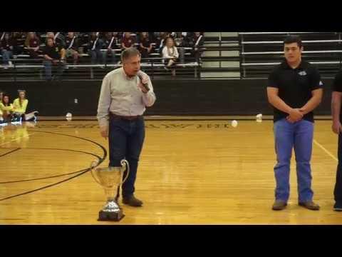 John Willams presents the Kicker Cup to Pleasant Grove High School 2017