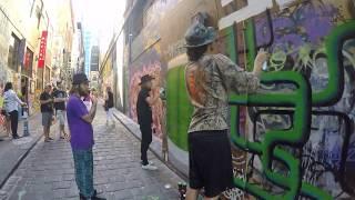 Graffiti Artists in Hosier Lane, Melbourne, Australia