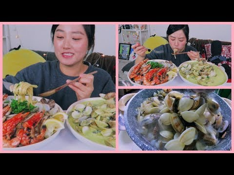 Homemade Creamy Clam Pasta + Grilled Shrimp Mukbang | KEEMI★
