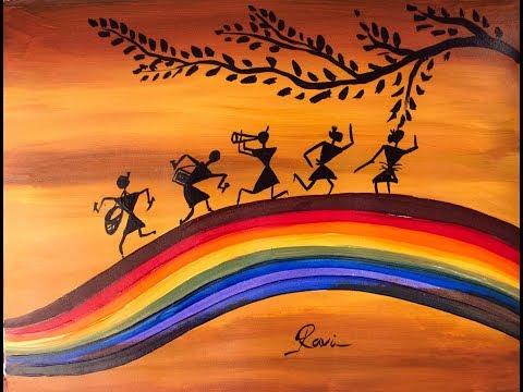Warli Acrylic Painting | Step By Step