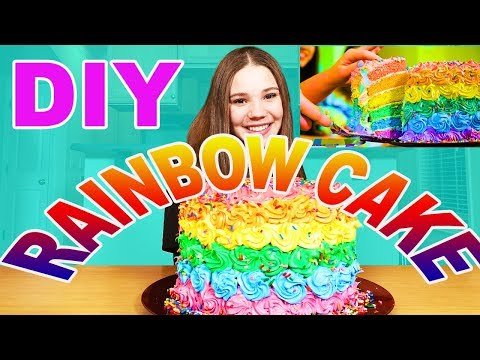 DIY - Rainbow Cake From Our Music Video! (Haschak Sisters)
