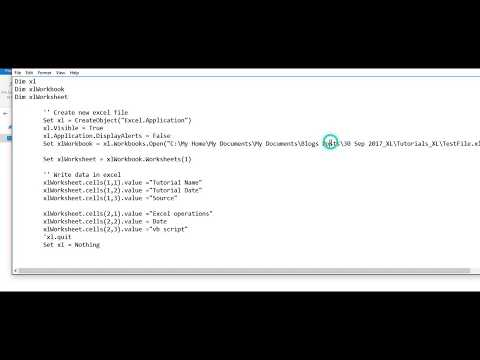 how to read write excel in vbscript