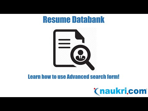 How to search resumes in Naukri - Advanced Search Form?