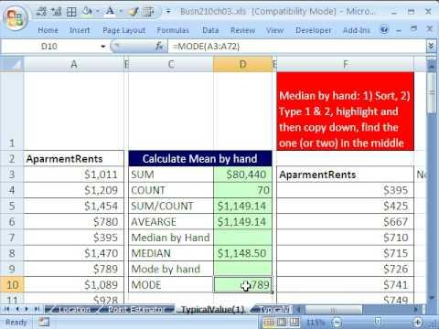 Excel Statistics 34: MEAN, MEDIAN, MODE (Averages)