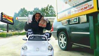 Bad Baby Driving Power Wheels - Sonic Drive Thru Prank! Shasha And Shiloh Fast Food - Onyx Kids