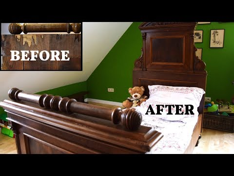 Renovation of antique bed - before and after
