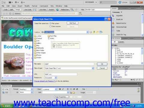 Dreamweaver CS5 Tutorial Attaching External Style Sheets Adobe Training Lesson 9.2