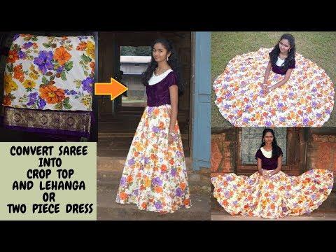 DIY: Convert Saree into Crop Top And Lehanga (or) Two Piece Dress || Wedding Season Special