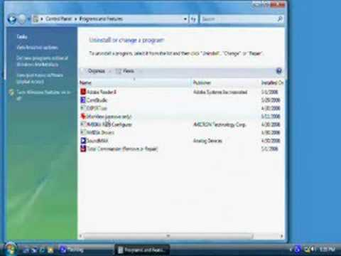 Windows Vista How to Remove Program