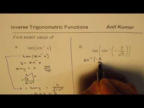How to find exact value of tan of sine inverse function