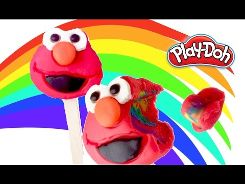 PLAY-DOH CREATIONS ELMO CRAFT LEARNING RAINBOW ICE-CREAM POPSICLE MOLD PLAY DOH TUTORIAL FOR KIDS