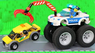 Police Cars Stories for Kids with Excavator, Crane, Trucks & Toy Vehicles