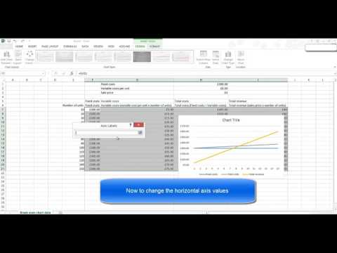 Creating a break even chart with Excel 2016